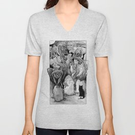 Three Wise Zombies Grayscale Unisex V-Neck