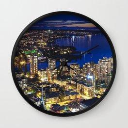 1556 Voyeuristic Vancouver Cityscape Twilight View English Bay Vancouver Wall Clock