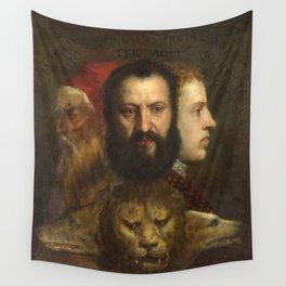 """Titian (Tiziano Vecelli) """"The Allegory of Age Governed by Prudence"""" Wall Tapestry"""
