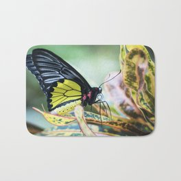 Black and Yellow Butterfly Bath Mat