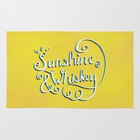 whiskey Area & Throw Rugs featuring Sunshine & Whiskey by Yellow 13
