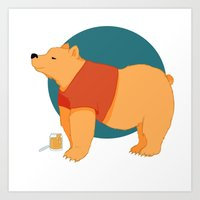 pooh Art Prints featuring Pooh Bear by Ray Elaine
