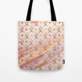 Gold Chinese Love symbol on rose marble Tote Bag