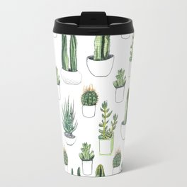 watercolour cacti and succulent Travel Mug