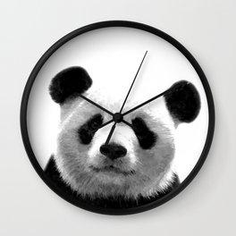 Black and white panda portrait Wall Clock