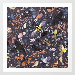 Tweet, tweet in the garden Art Print