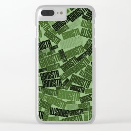 GANGSTA jungle camo / Green camouflage pattern with GANGSTA slogan Clear iPhone Case