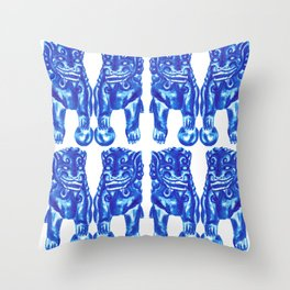 Chinese Guardian Lion Twins in Blue Porcelain Throw Pillow