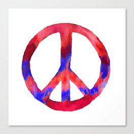 Patriotic Peace Sign Tie Dye Watercolor Canvas Print