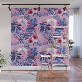 watercolor illustration of a tropical leaf and a pink flamingo watercolor illustration Wall Mural