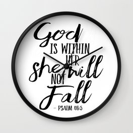 Digital Download, God is Within Her, She Will Not Fail, Bible Verse Printable, Dorm Wall Art Wall Clock