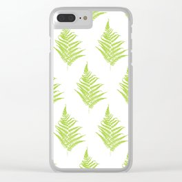 Fern frond silhouettes seamless pattern. Clear iPhone Case
