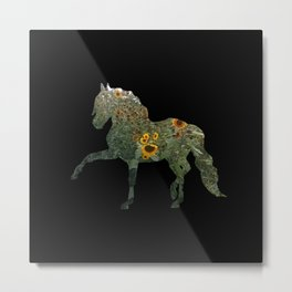 Horse Silhouetted in Sunflowers Metal Print