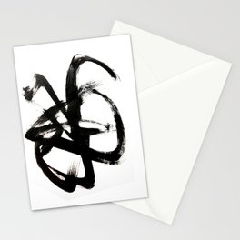 Brushstroke 4 - a simple black and white ink design Stationery Cards