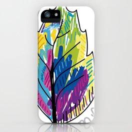 colorful leaf illustration design iPhone Case