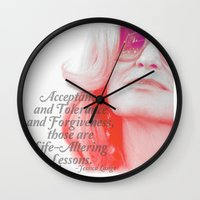 jessica lange Wall Clocks featuring Jessica Lange Quote by NameGame