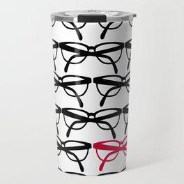 Optometrist Eye Glasses Black Pattern Print Travel Mug
