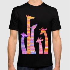 Giraffe Silhouettes in Colorful Tribal Print MEDIUM Mens Fitted Tee Black