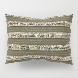 Bayeux Tapestry on Army Green - Full scenes & description Pillow Sham