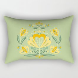 Nordic Green Rose Rectangular Pillow