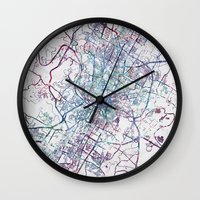 austin Wall Clocks featuring Austin map by MapMapMaps.Watercolors