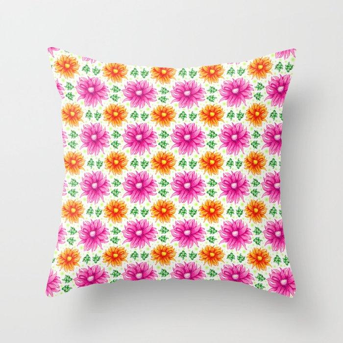 Pink and orange cacti flower Throw Pillow