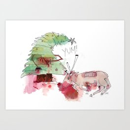 a satisfied christmas tree Art Print