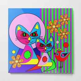 Picasso's cats, colourful modern art  Metal Print