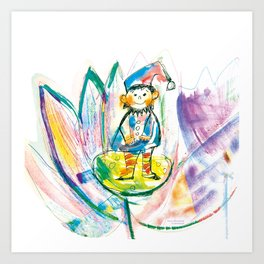 Dwarf in a flower Art Print