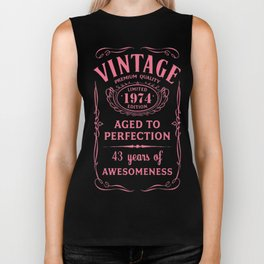 Pink-Vintage-Limited-1974-Edition---43rd-Birthday-Gift Biker Tank