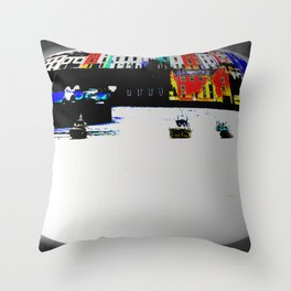 Boats In The Habour Throw Pillow