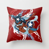 captain Throw Pillows featuring CAPTAIN by Lera Razvodova