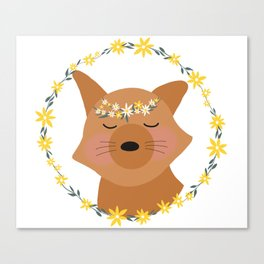 Smiling Fox in Flower Crown and Daisy Wreath Canvas Print