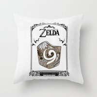 the legend of zelda Throw Pillows featuring Zelda legend - Kokiri shield by Art & Be