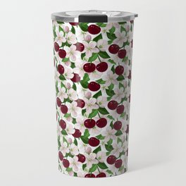 Blush pink burgundy cherries blossom floral pattern Travel Mug