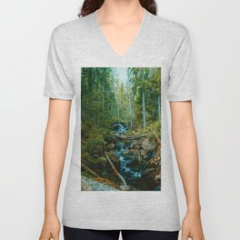 The Creek in the Forest (Color) Unisex V-Neck