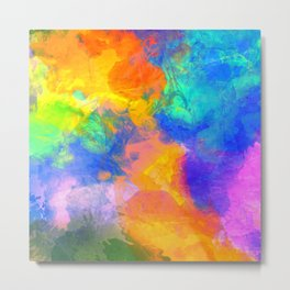 Spilt Rainbow - Abstract, watercolour art / watercolor painting Metal Print