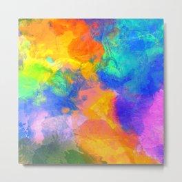 Spilt Rainbow - Abstract, watercolour art / watercolor painting Metal Print