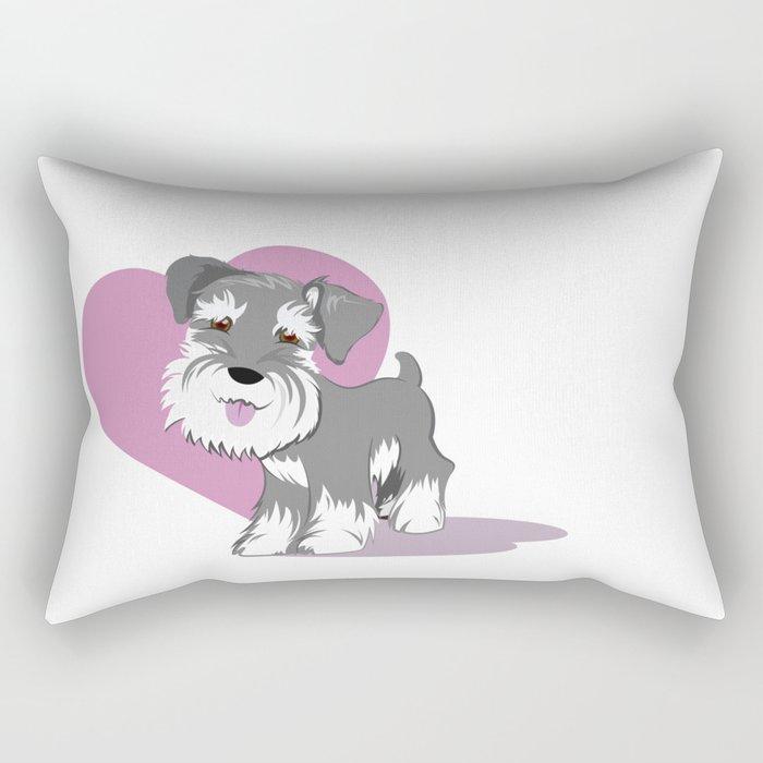 Miniature Schnauzer Puppy Dog Adorable Baby Love Rectangular Pillow