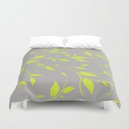 FLOWERY VINES | grey lime green Duvet Cover