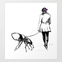Pets ( and girl and her Beetle ) Art Print