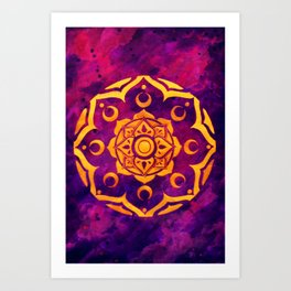 """Witchcraft""  WATERCOLOR MANDALA (HAND PAINTED) BY ILSE QUEZADA Art Print"