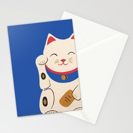 Blue Lucky Cat Maneki Neko Stationery Cards
