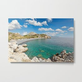 The famous beach Mavra Volia in Chios island, Greece Metal Print
