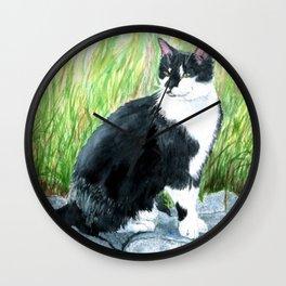 Louie the Tuxedo Cat Wall Clock