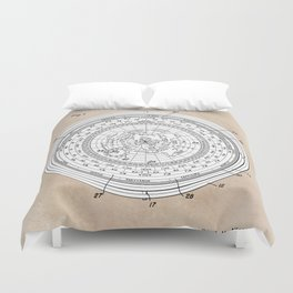 patent art Allen Universal time clock and hour angle indicator 1953 Duvet Cover