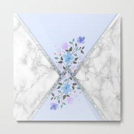 MINIMAL SILVER BLUE MARBLE BOUQUET Metal Print