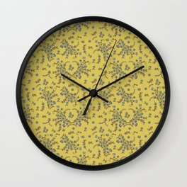 Ditsy Flowers - Yellow Wall Clock
