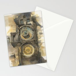 Prague Orloj Astronomical Clock Watercolor Medieval Architecture Historic Building Painting Stationery Cards
