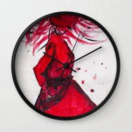 Red Women's Fashion Illustration Wall Clock